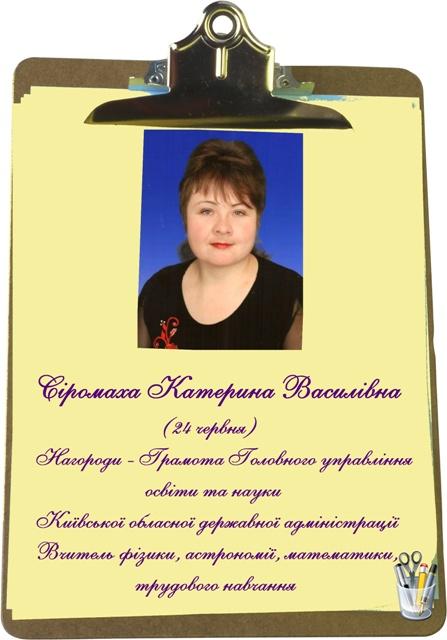 Сіромаха К.В. 11 Сіромаха Катерина Василівна